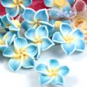Small fimo flowers, Fimo, Yellow, Light blue, 20mm x 20mm x 10mm, 1  piece, (DDH014)
